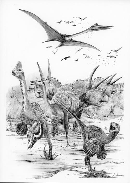 I dinosauři, ptakoještěři a mnozí další živočichové pocítili, že se blíží katastrofa... Od začátku kenozoické éry právě uplynulo 120 sekund. Autor: Vladimír Rimbala